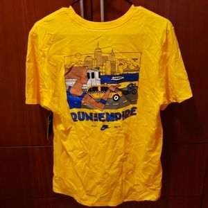 Nike run the empire yellow print logo shirt